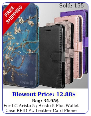 lg aristo  aristo  plus wallet case rfid pu leather card phone cove