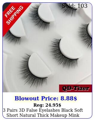 pairs d false eyelashes black soft short natural thick makeup mink eye lashe