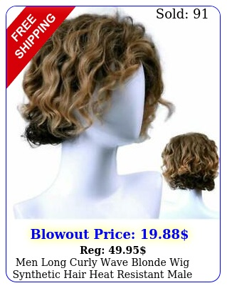 men long curly wave blonde wig synthetic hair heat resistant male fashion styl