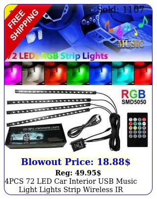 pcs led car interior usb music light lights strip wireless ir remote contro