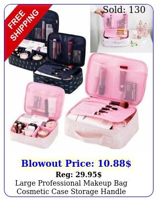 large professional makeup bag cosmetic case storage handle organizer travel ki