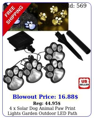 x solar dog animal paw print lights garden outdoor led path lawn decor walkwa