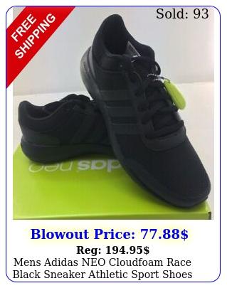 mens adidas neo cloudfoam race black sneaker athletic sport shoes