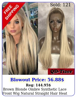 brown blonde ombre synthetic lace front wig natural straight hair heat resistan