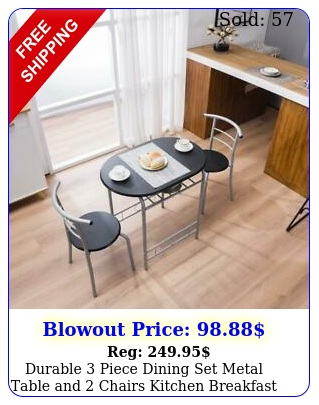 durable piece dining set metal table chairs kitchen breakfast furnitur
