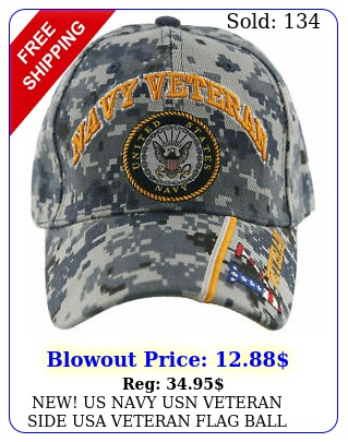 new us navy usn veteran side usa veteran flag ball cap hat acu navy cam