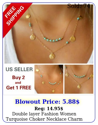 double layer fashion women turquoise choker necklace charm chain jewelry