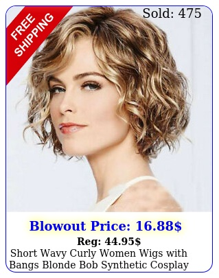 short wavy curly women wigs with bangs blonde bob synthetic cosplay party wig u