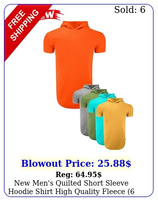 men's quilted short sleeve hoodie shirt high quality fleece colors s