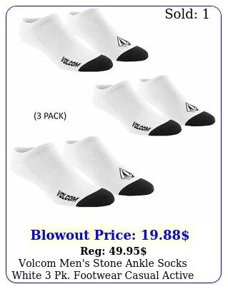 volcom men's stone ankle socks white pk footwear casual activ