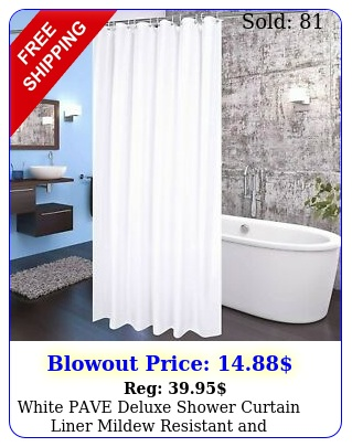 white pave deluxe shower curtain liner mildew resistant antimicrobial '