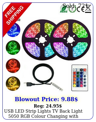 usb led strip lights tv back light rgb colour changing with key remot
