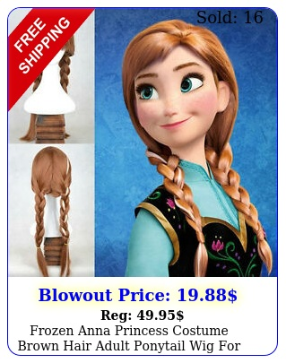 frozen anna princess costume brown hair adult ponytail wig cosplay part