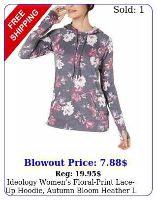 ideology women's floralprint laceup hoodie autumn bloom heather l