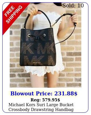 michael kors suri large bucket crossbody drawstring handbag graphic logo blac