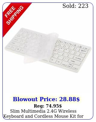 slim multimedia g wireless keyboard cordless mouse kit mac pc lapto