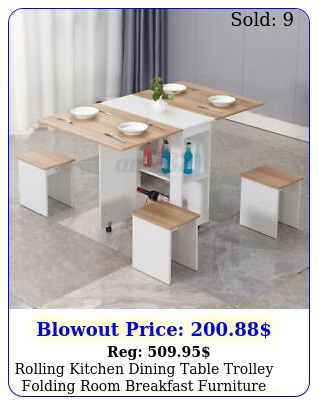 rolling kitchen dining table trolley folding room breakfast furniture w