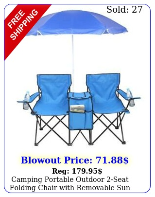 camping portable outdoor seat folding chair with removable sun umbrella blu