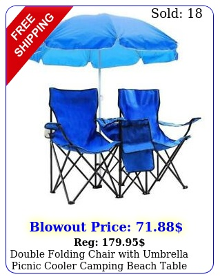 double folding chair with umbrella picnic cooler camping beach table portabl