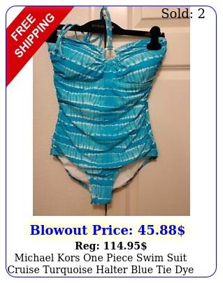 michael kors one piece swim suit cruise turquoise halter blue tie dye