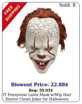 it pennywise latex mask wwig hair horror clown joker halloween cosplay pro