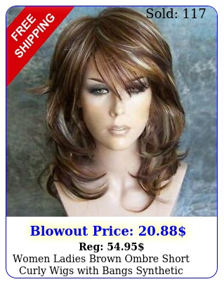 women ladies brown ombre short curly wigs with bangs synthetic natural hair wi