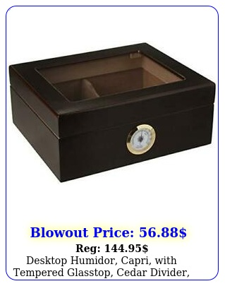 desktop humidor capri with tempered glasstop cedar divider brass rin