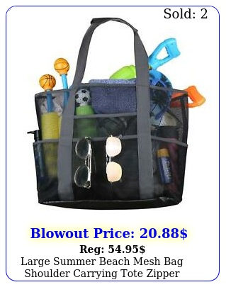 extra large summer beach mesh bag shoulder picnic tote wzip pocket xl