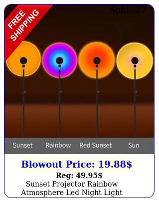 sunset projector rainbow atmosphere led night light bedroom decor usb table lam