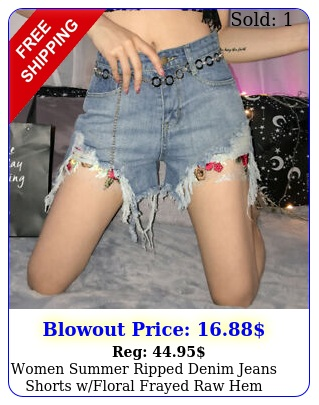 women summer ripped denim jeans shorts wfloral frayed raw hem casual hot pant