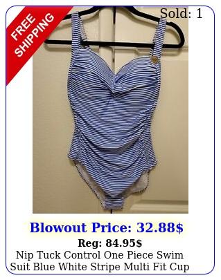 nip tuck control one piece swim suit blue white stripe multi fit cup