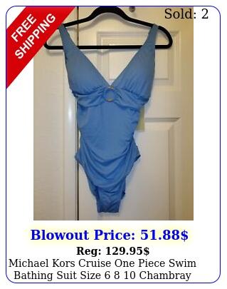 michael kors cruise one piece swim bathing suit size  chambray blu