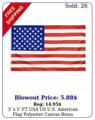 ' x ' ft usa us us american flag polyester canvas brass grommet