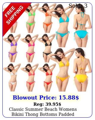 classic summer beach womens bikini thong bottoms padded swimwear bathing suit u