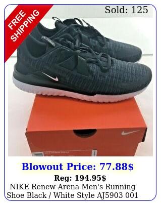 nike renew arena men's running shoe black white style a