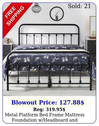 metal platform bed frame mattress foundation wheadboard footboard blac