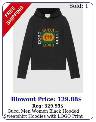gucci men women black hooded sweatshirt hoodies with logo print size