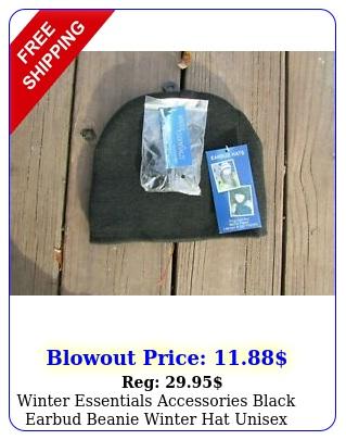winter essentials accessories black earbud beanie winter hat unisex one siz