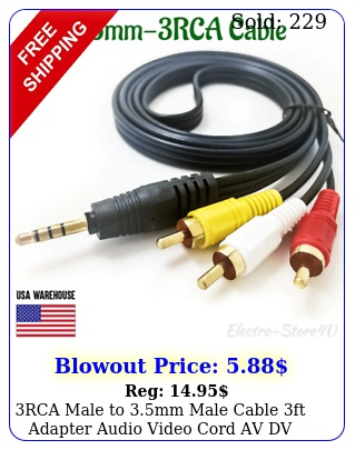 rca male to mm male cable ft adapter audio video cord av dv aux converte