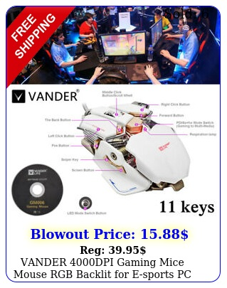 vander dpi gaming mice mouse rgb backlit esports pc laptop butto