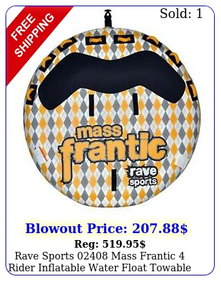 rave sports mass frantic rider inflatable water float towable boat tub
