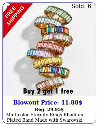 multicolor eternity rings rhodium plated band made with swarovski crystals rin