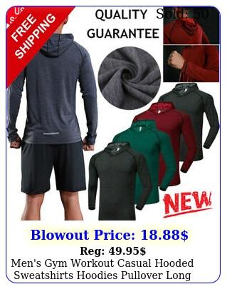 men's gym workout casual hooded sweatshirts hoodies pullover long sleeve tshir