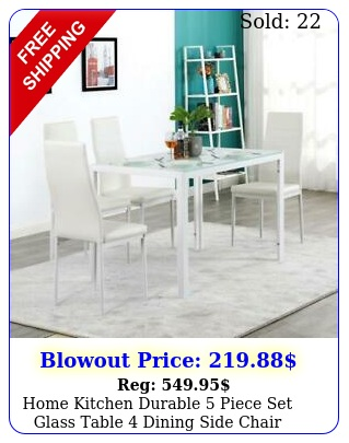 home kitchen durable piece set glass table dining side chair breakfas