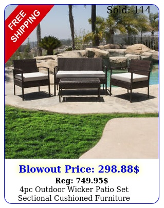 pc outdoor wicker patio set sectional cushioned furniture rattan garden brow