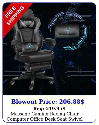 massage gaming racing chair computer office desk seat swivel recliner footres
