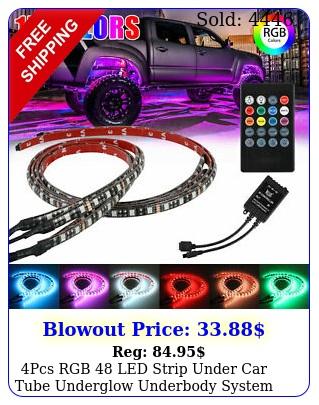pcs rgb led strip under car tube underglow underbody system neon light ki