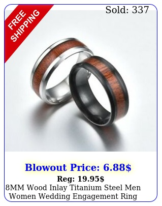 mm wood inlay titanium steel men women wedding engagement ring band siz