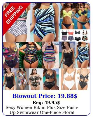 sexy women bikini plus size pushup swimwear onepiece floral bathing swimsui
