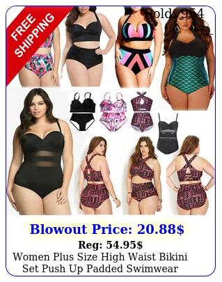 women plus size high waist bikini set push up padded swimwear beach bathing sui